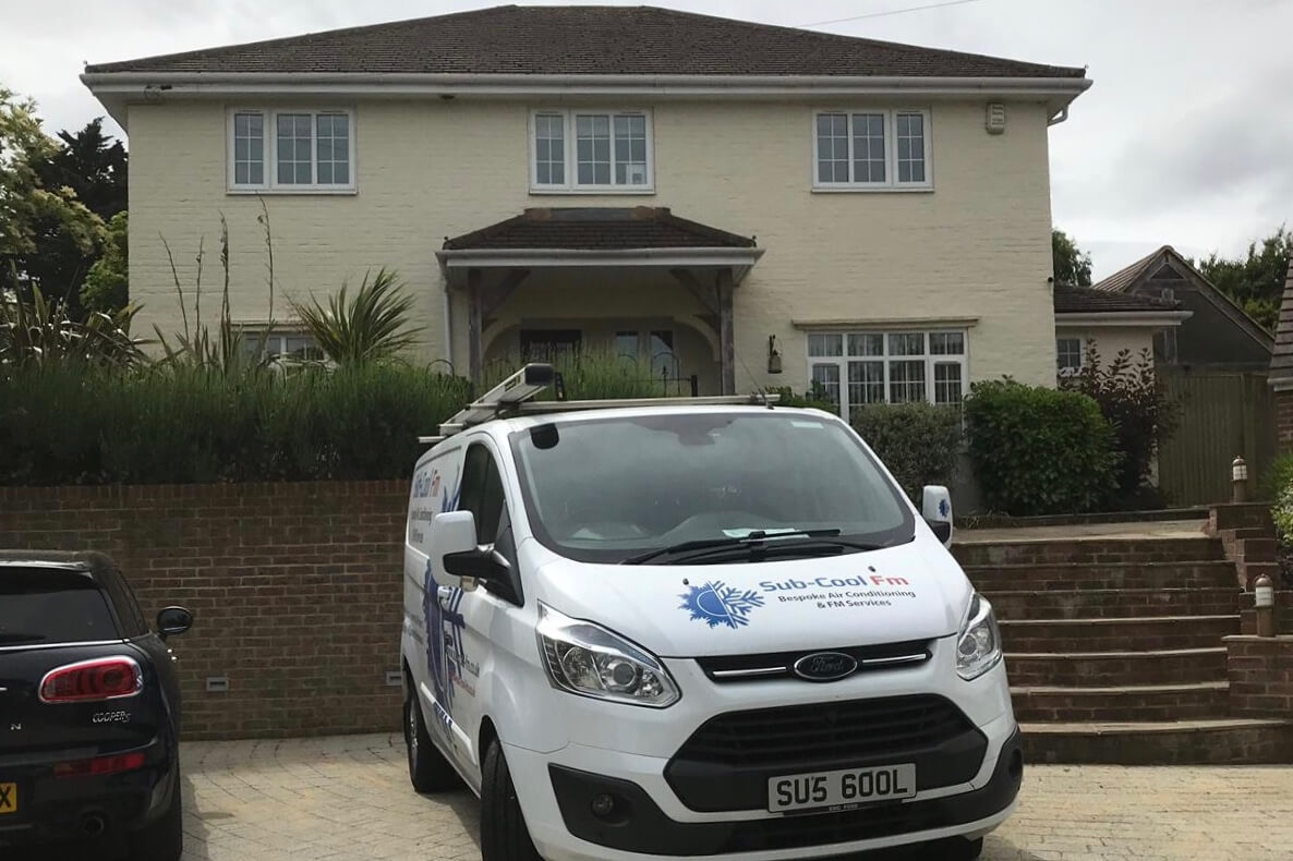 SubCool FM van outside cream domestic property for air conditioning installation in Kent